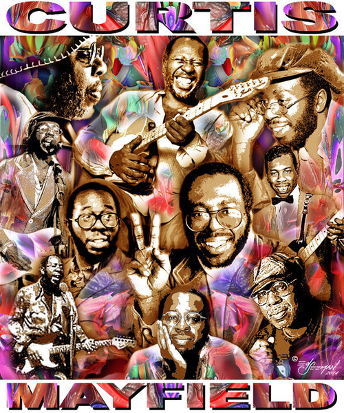 Curtis Mayfield Tribute T-Shirt or Poster Print by Ed Seeman