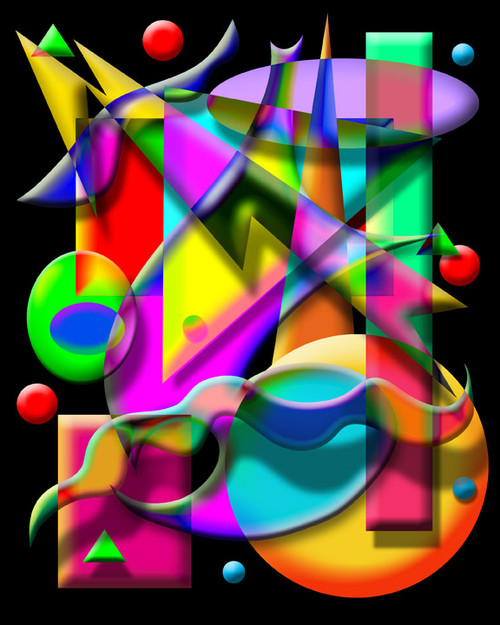 COMPOSITION #1 ON BLACK POSTER PRINT BY ED SEEMAN