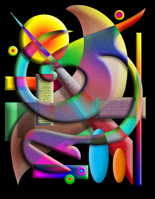 COMPOSITION #2 ON BLACK POSTER PRINT BY ED SEEMAN