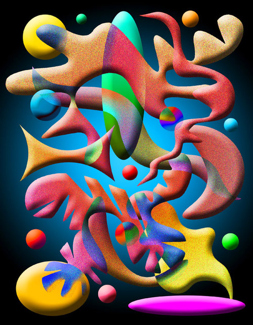 COMPOSITION #3 ON BLACK POSTER PRINT BY ED SEEMAN