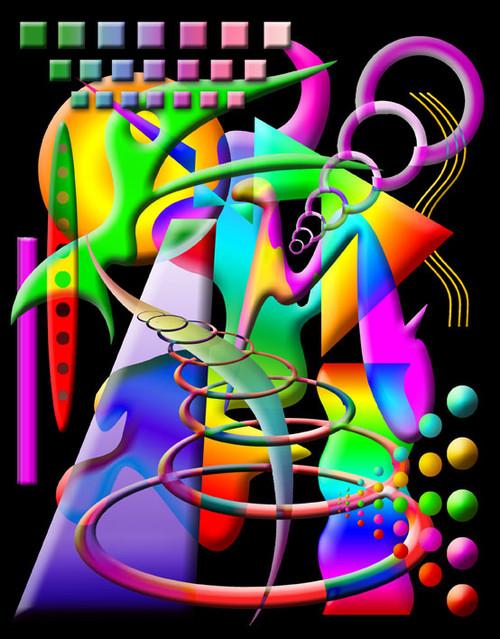 COMPOSITION #4 ON BLACK POSTER PRINT BY ED SEEMAN