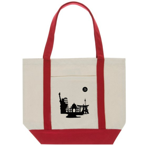 """Great for School or grab your grocery list and hit the market with the Classic Cotton Tote Bag Two-Tone Deluxe. This Tote is great for anything from running errands to hitting the beach.   - 11oz., 100% canvas cotton - 14.96"""" H x 18.5"""" W x 4.72"""" L dimensions - Handle Height is 11.02"""""""