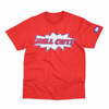 Pow BALL. OUT tee -Red with Royal blue print