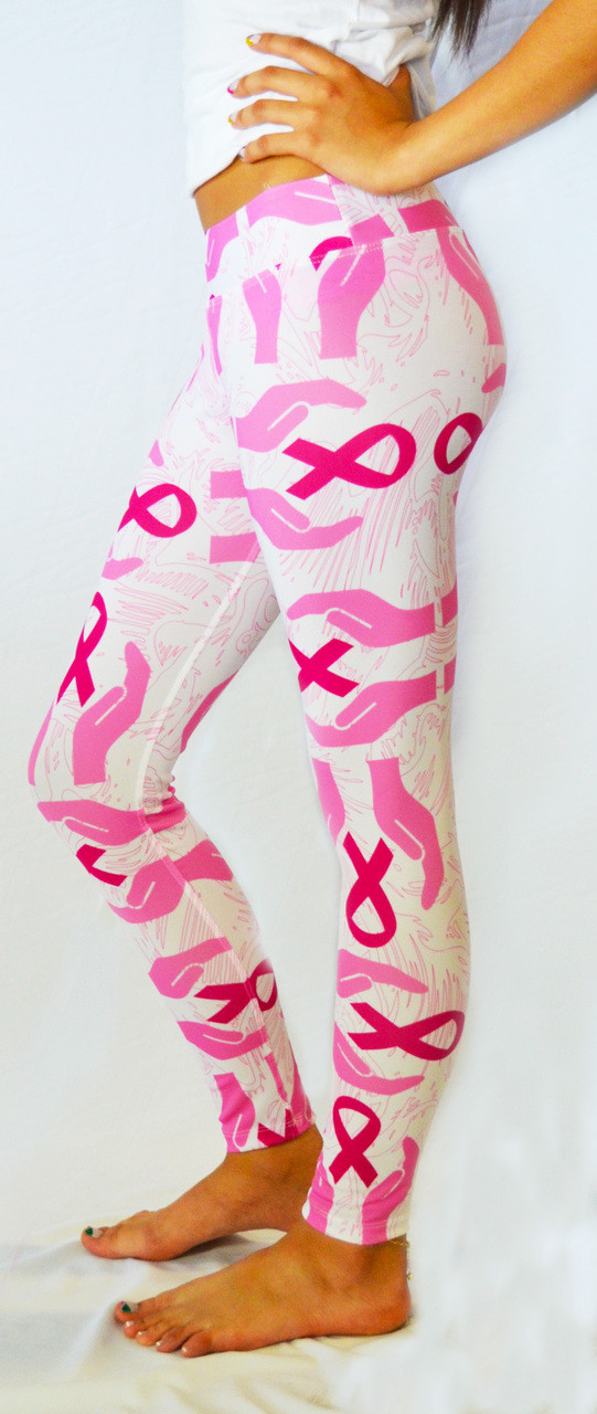 white breast cancer awareness supporting hands leggings dmaxxsports