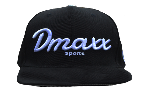 """Signature """"Dmaxx Sports"""" Logo Snap Back - Black with White Embroidery"""