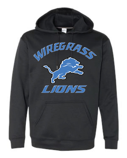 WIREGRASS LIONS BLACK ADULT HOODIE