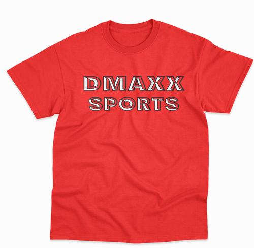 DMAXX SPORTS - RED TEE WITH BLACK AND WHITE. PRINT
