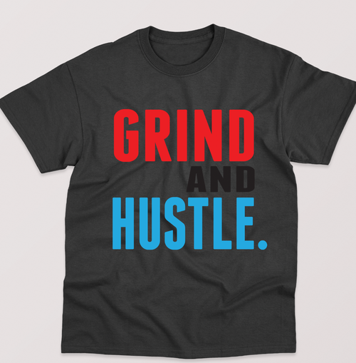 Grind and Hustle Tee - Black with Multi color print