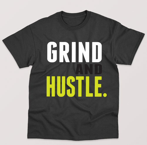 Grind and Hustle Tee - Black with White, Black and Neon Yellow Print