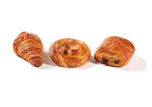 | Assortiment koffiekoeken : Ingebakken chocolade, croissant, rozijnenkoek (3 stuks) |