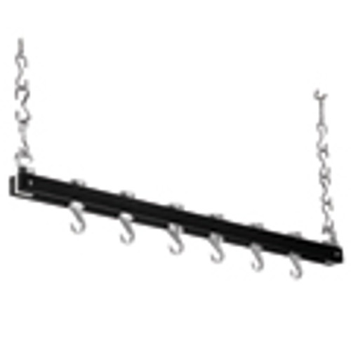 Black & Chrome Single Bar Wooden Ceiling Rack