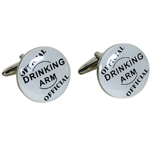White Drinking Arm Cufflinks