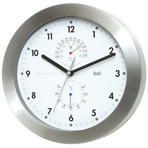 28cm Wall Clock/Weather Station-Stainless Steel/White