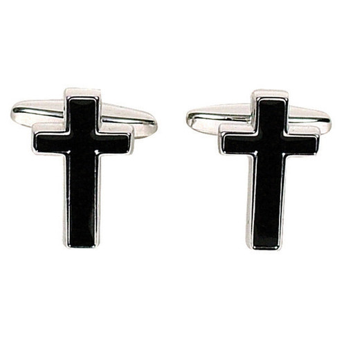 Black/Silver Cross Cufflinks