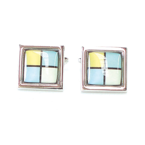 Blue/White/Yellow Square Cufflinks