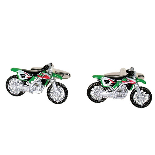 Motor Cross Bike Cufflinks Green