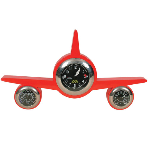 Retro Weather Clock Plane Red