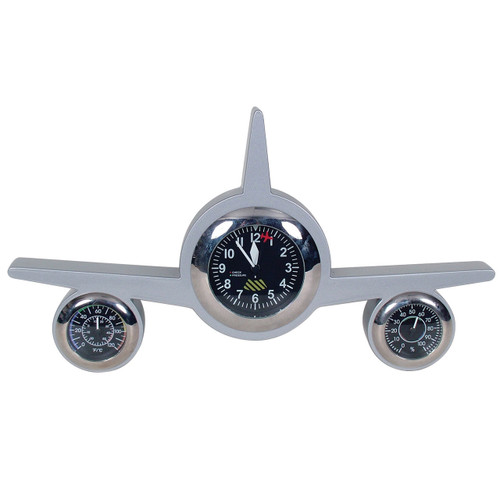 Retro Weather Clock Plane Silver