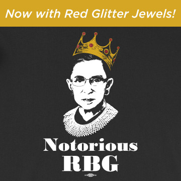 Notorious RBG with Red Glitter Jewels (on Black Tee)