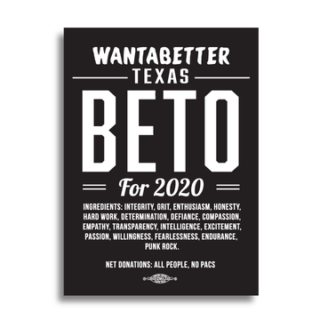 "Wantabetter Texas - Beto 2020 (4"" x 5.5"" Vinyl Sticker -- Pack of Two!)"