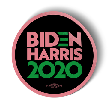 "Biden/Harris - Pink and Green (4"" x 4"" Vinyl Sticker -- Pack of Two!)"
