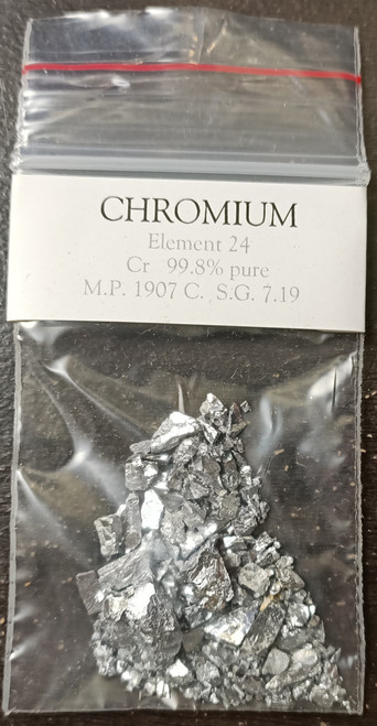 Chromium metal 99.8% pure 10g sample. Element 24.  FREE POSTAGE!