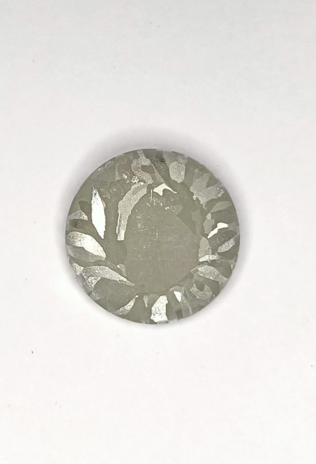 Macro etched Tin metal disk, crystalline structure.  FREE POSTAGE
