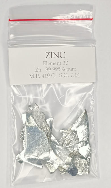 Zinc sheet pieces 10g 99995 purity element 30.  FREE POSTAGE!