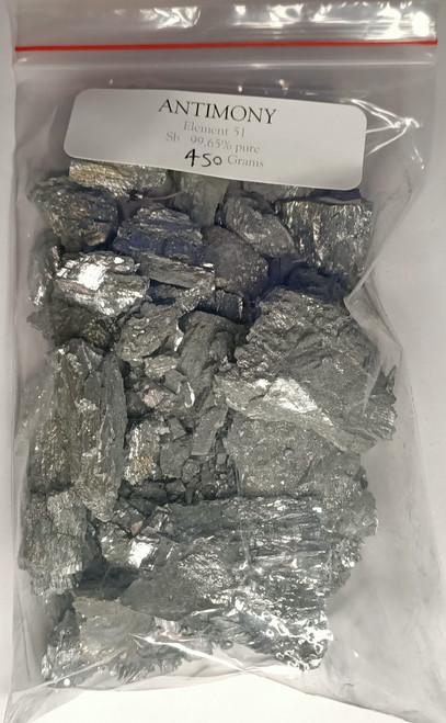 Antimony metal, 450 Gram  99.65% plus purity