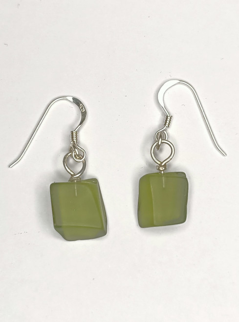 Bottle Green  Glass Earrings
