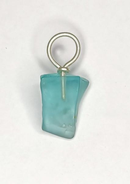 Blue Aqua Glass 'wedge' Pendant.