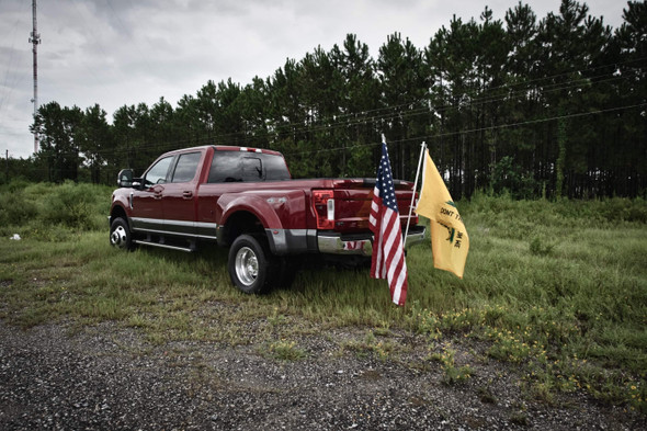 "No need to drill holes in the bed of your truck! simple installation of our hitch into a standard 2"" receiver will have you on the road in minutes! The hitch has bolts for tightening down the flag pole and holding everything securely in place.  This product is proudly made in the USA!!  Comes stock in Matte Black.  Fits 1"" pole for flag"