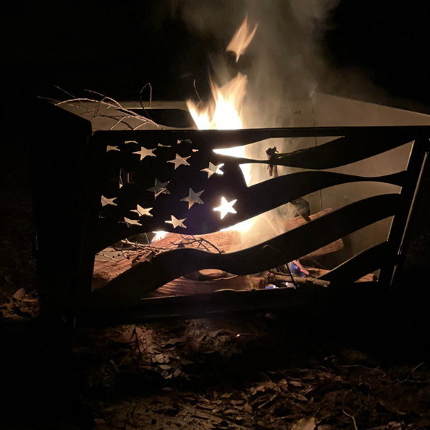 """24"""" collapsible fire pit with American flag cut out"""