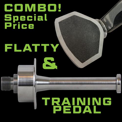 COMBO Two Pitbull Road Bike Pedals AND Pitbull Flatty, Cleat Set 5-Degree Float, Cleat Set 0-Degree Float