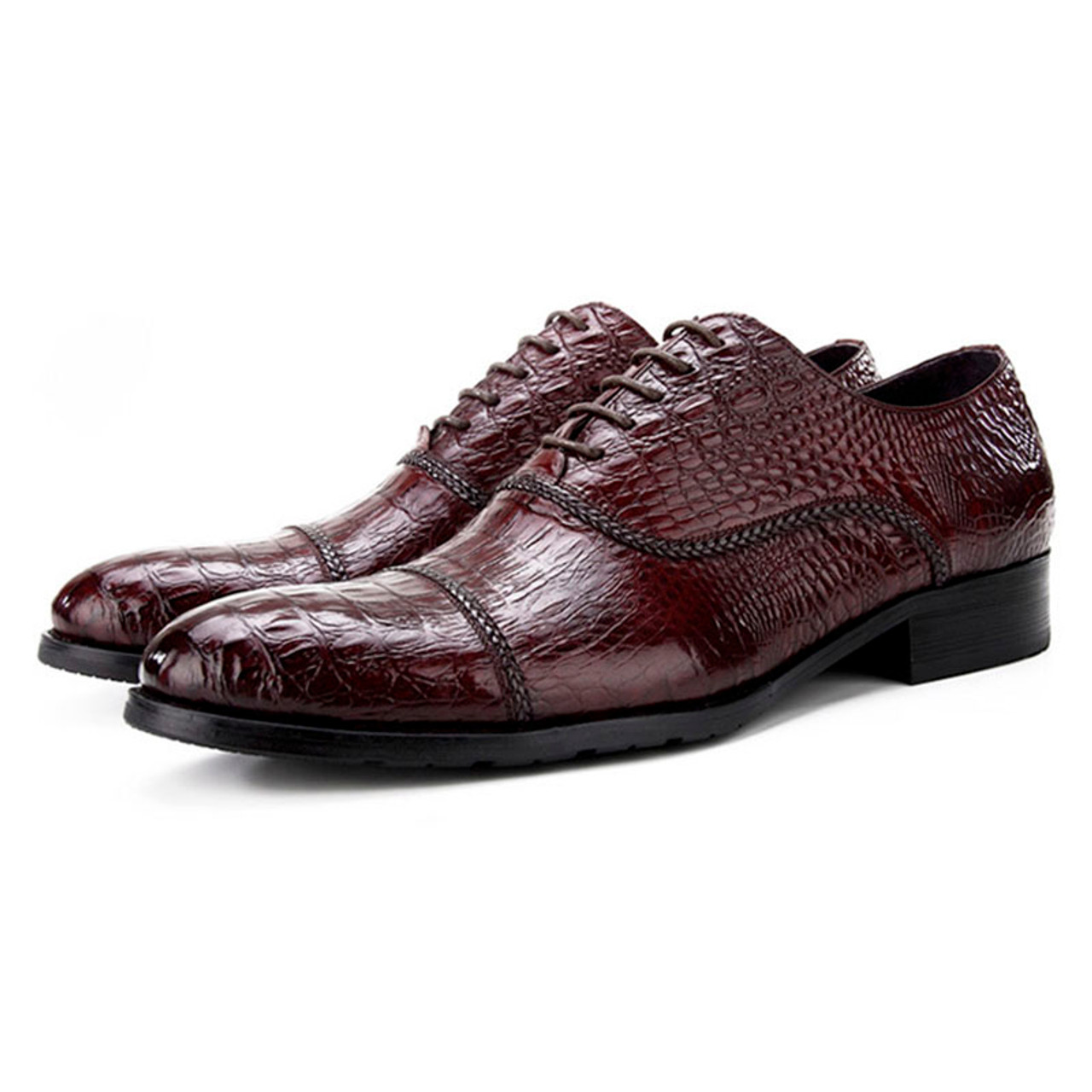 1297521e89f GRIMENTIN Cool Mens Oxford Shoes, Genuine Leather, Brown Red