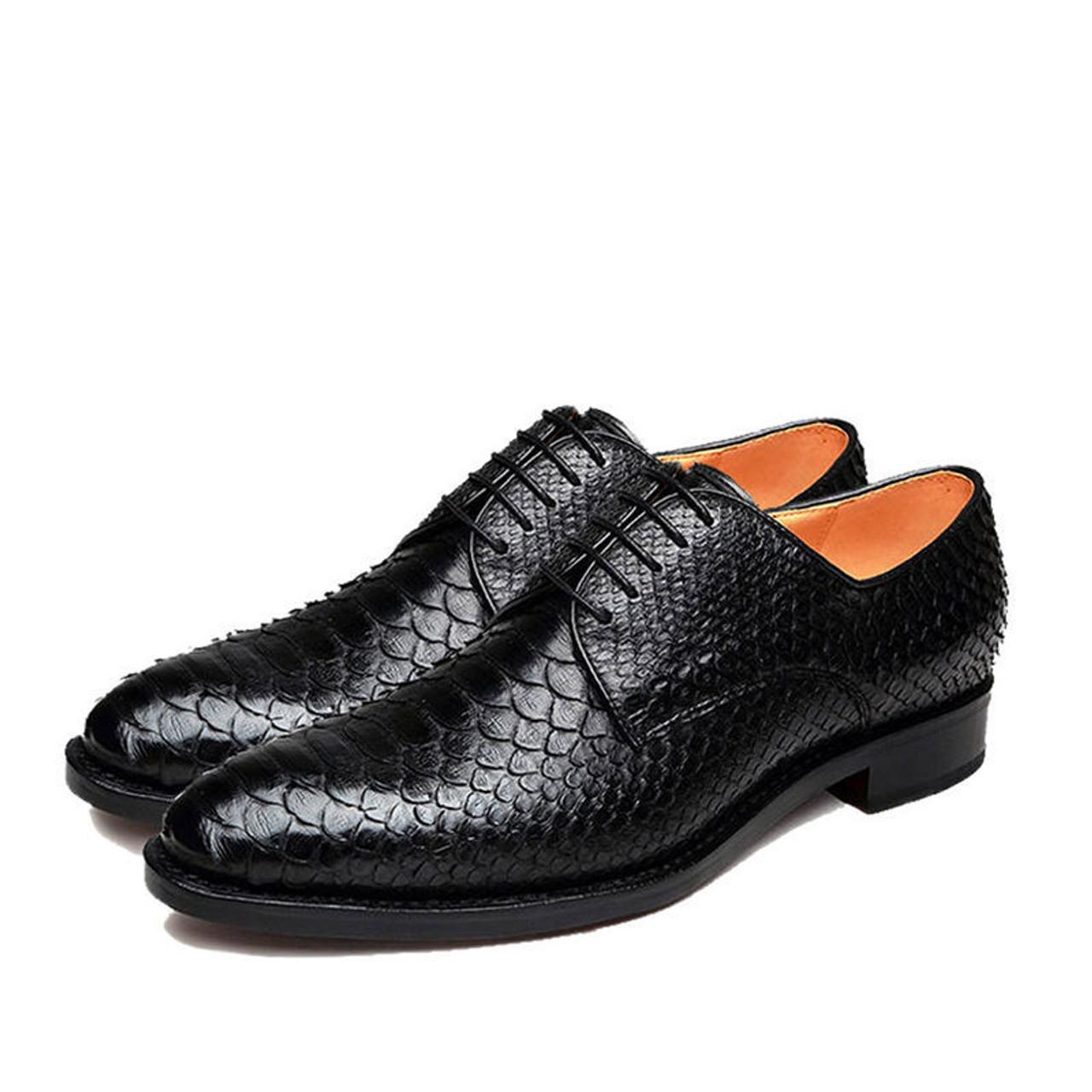Snakeskin Shoes|Black Leather Shoes Mens
