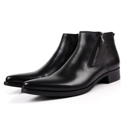 Classic Mens Pointed Toe Leather Ankle Dress Boots Zip