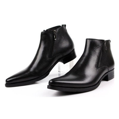 Mens leather pointed toe boots