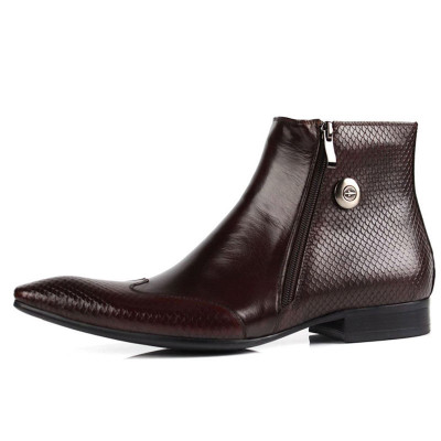 Italian Mens Pointed Toe Ankle Leather Dress Boots Zipper