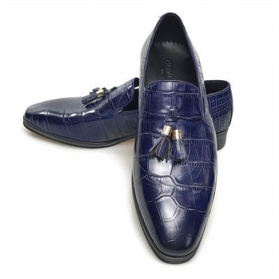 Blue male dress shoes