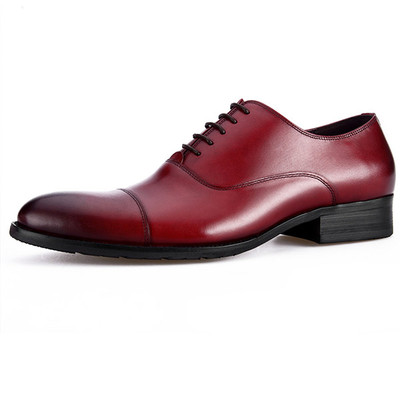 Men leather shoes brown red