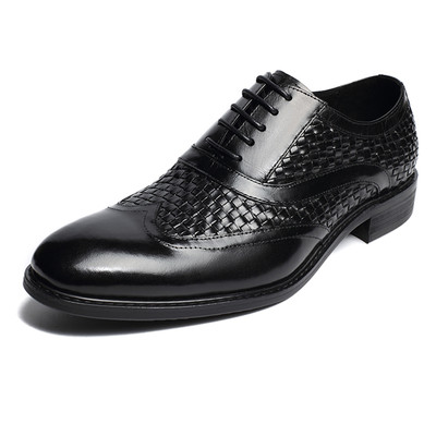Woven dress shoes for men
