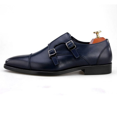 Blue monk strap leather shoes for men