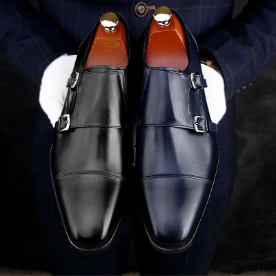 Luxury men monk strap dress shoes