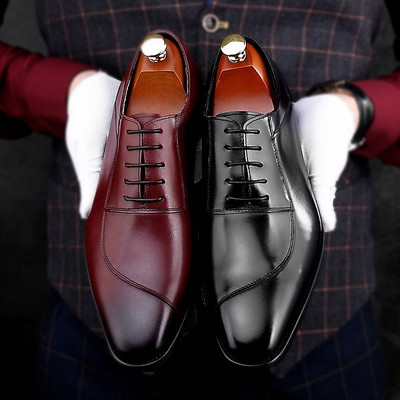 Genuine leather dress shoes for men