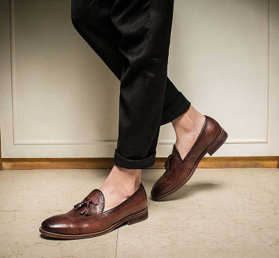 Tassel leather loafers shoes for men