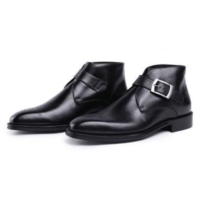 Black leather dress boots for men