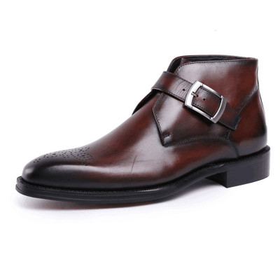 Fashion dress boots for men with buckle