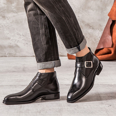 Fashion leather dress ankle boots for men
