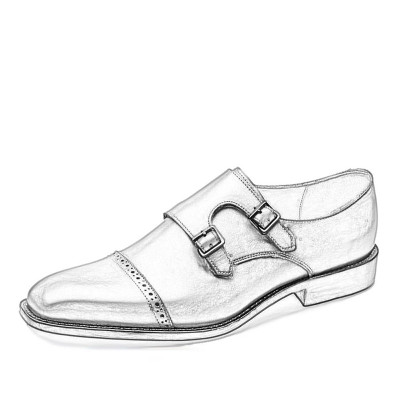 High Grade Customized Mens Monk Strap Dress Shoes Genuine Leather